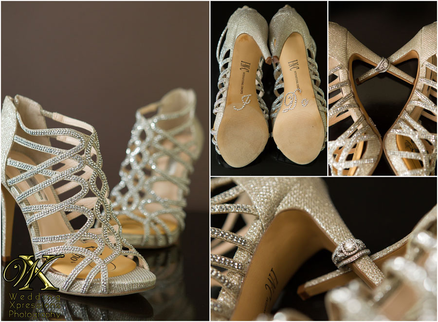 bride's wedding shoes with I Do and wedding ring
