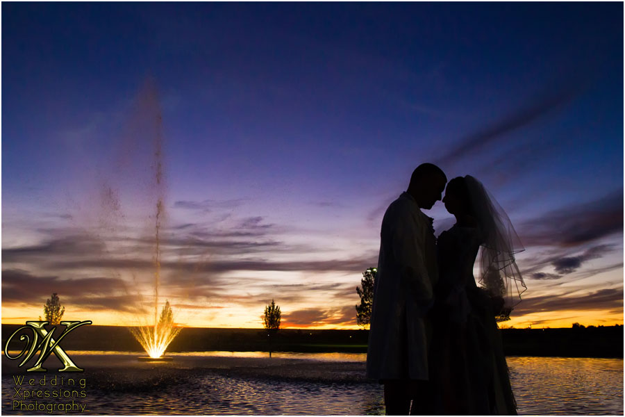 wedding sunset silhouette lake