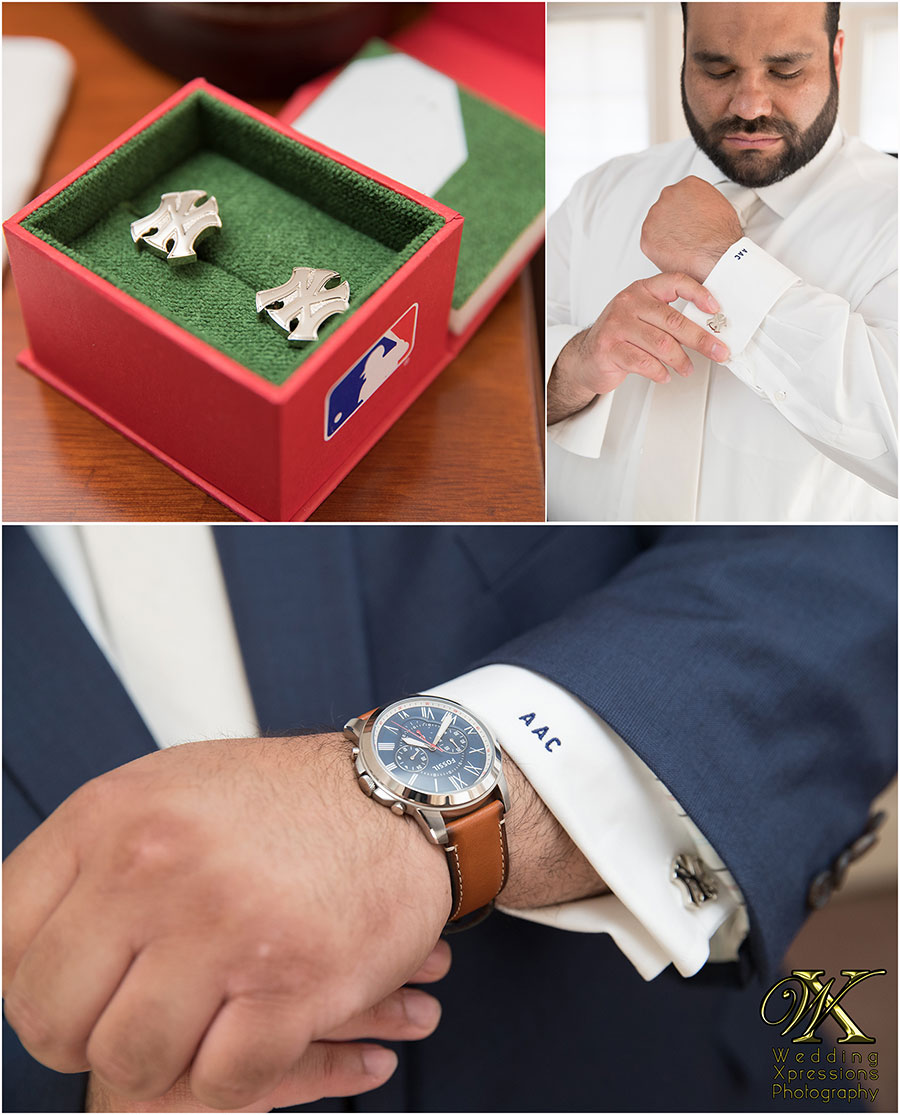 New York Yankees cufflinks on groom