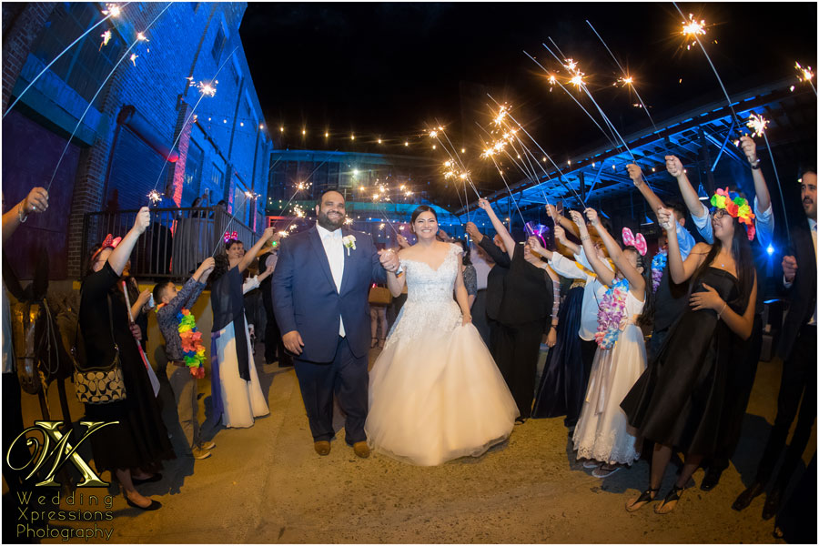 sparkler sendoff at Epic Railyard wedding