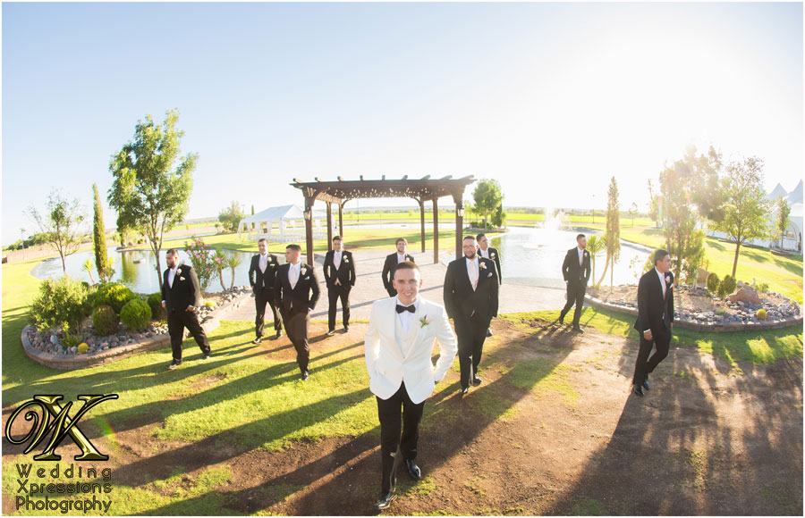 groomsmen at Grace Gardens lake