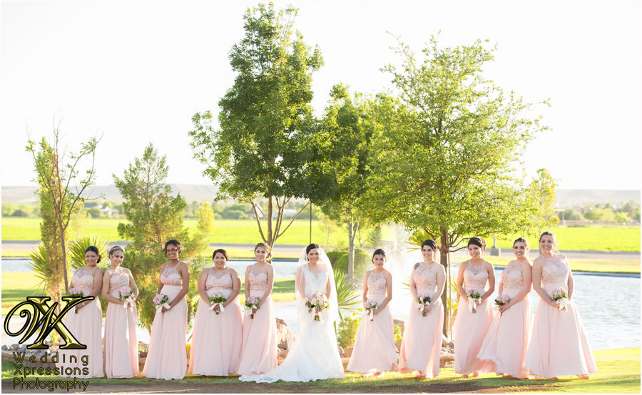 bridesmaids at Grace Gardens lake