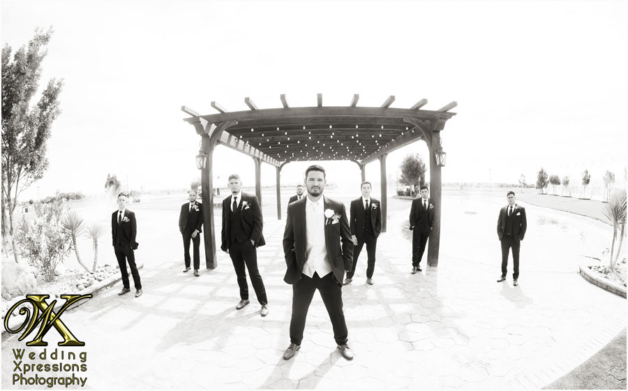 groomsmen on wedding day at Grace Gardens