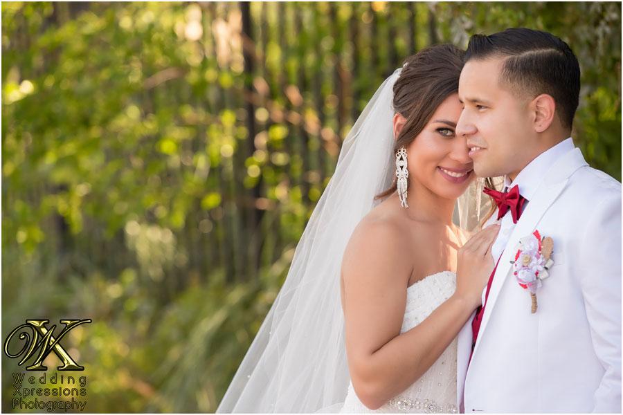 bride looking past groom
