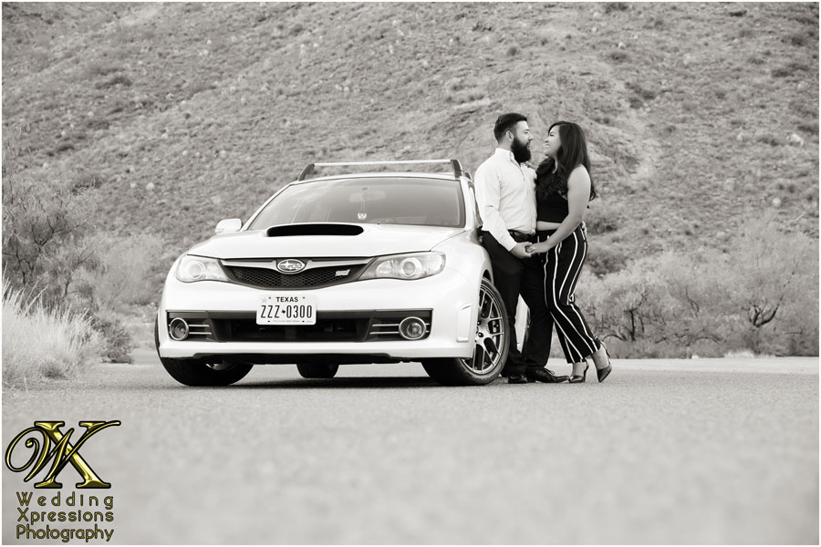 engagement session with car