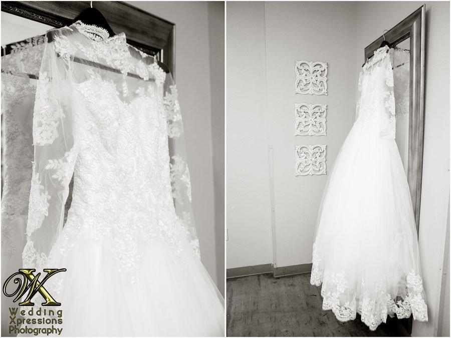 hanging white wedding dress