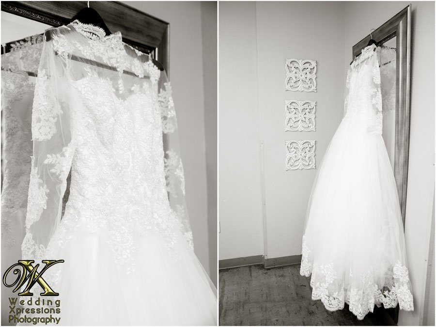 hanging white wedding dress