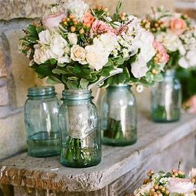 VintageVasen und Mason Jars Glser fr Hochzeit mieten