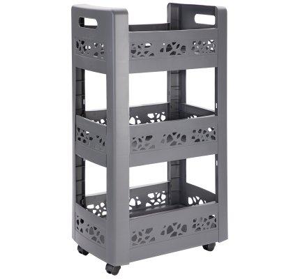 resserre desserte mobilo meuble de rangement a roulettes 3 niveaux modulables gris anthracite ajoure