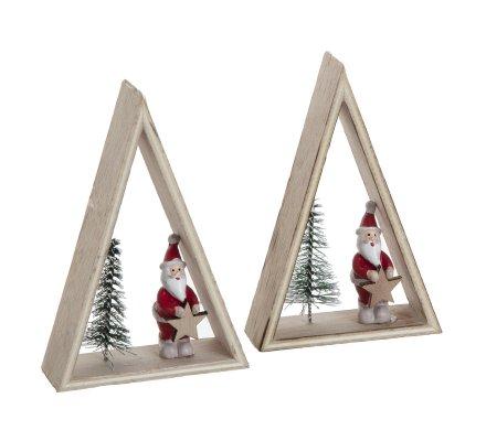 lot de 2 sujets de noel forme triangle en bois avec pere noel et sapin 12cm