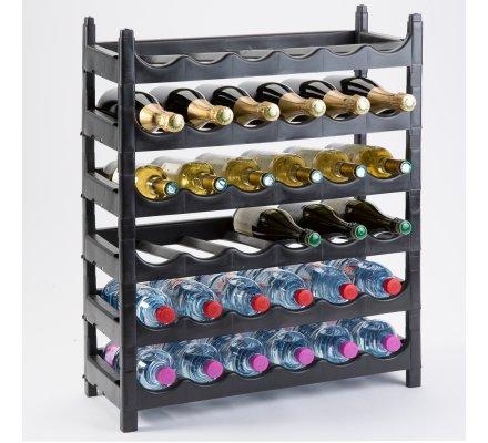 etagere a bouteille casier a bouteille modulable plastique 36 bouteilles noir