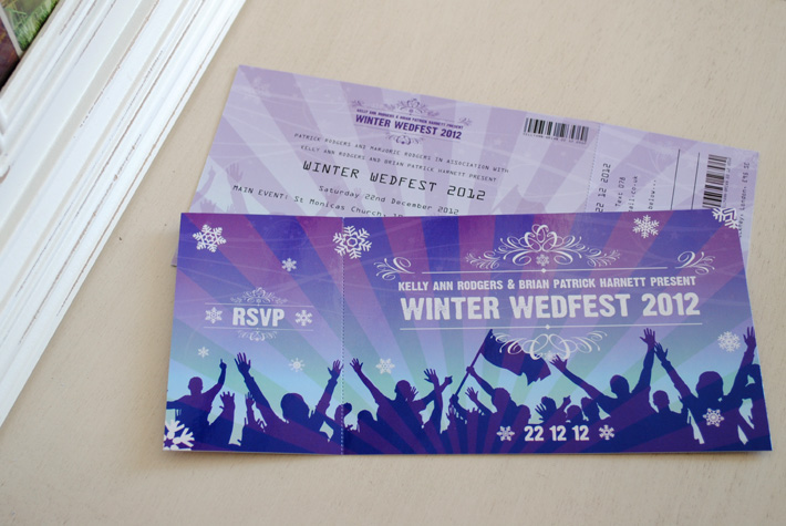 Festival Ticket Themed Wedding Invitations  WEDFEST