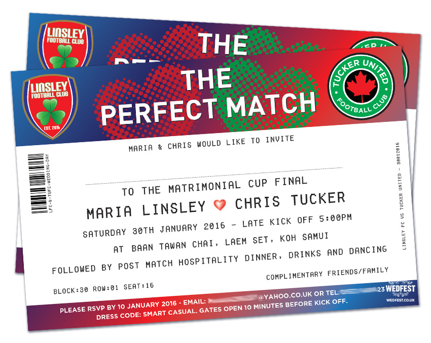 The Perfect Match Football Ticket Wedding Invites WEDFEST