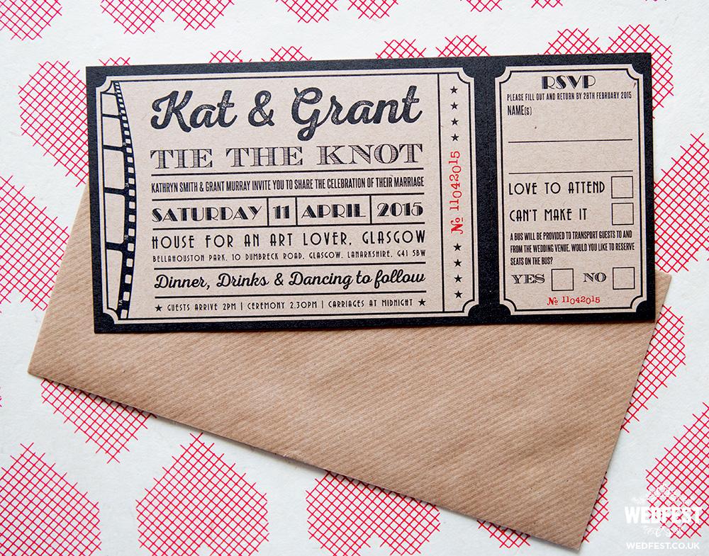 vintage cinema ticket wedding