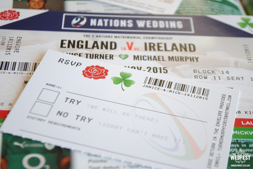 Ireland Vs England Rugby Ticket Wedding Invitations Wedfest