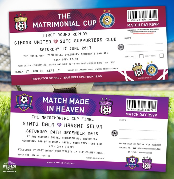 Football Soccer Ticket Wedding Invitations Wedfest