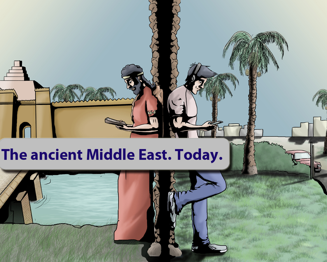 Extended Thin End of the Wedge image, showing the ancient and modern Middle East alongside each other