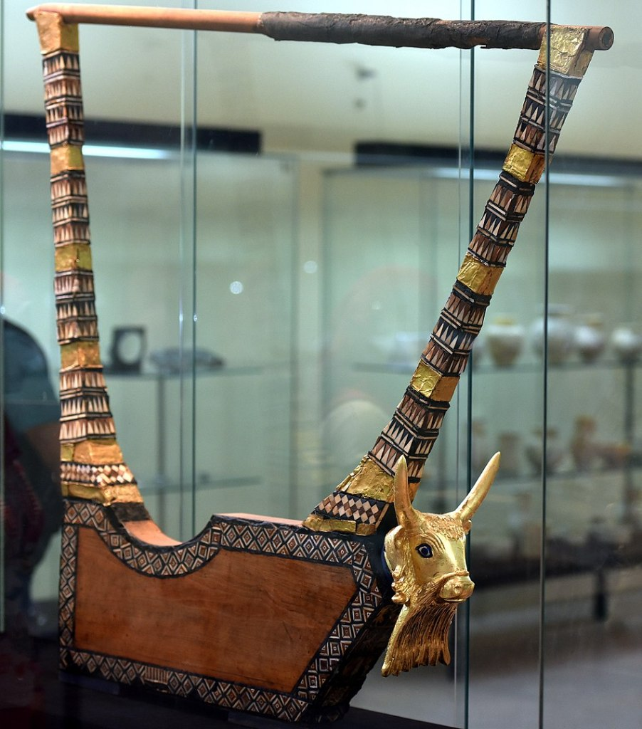 Sumerian lyre from Ur, decorated with a golden head of a bull