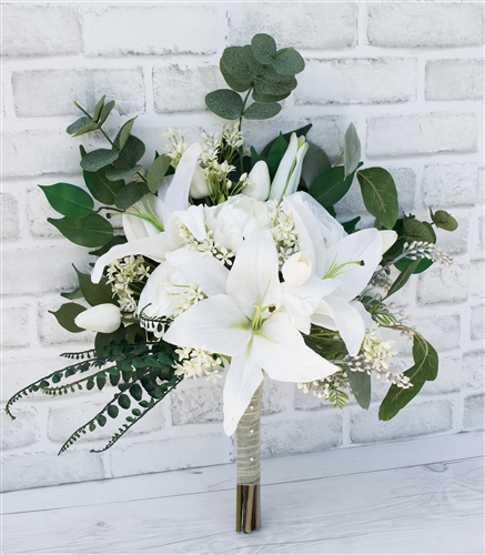 Natural Touch Open Off White Peonies Lilies Callas And