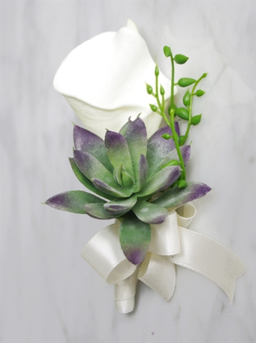 Real Touch Boho Rustic Succulent and Calla Lily Corsage