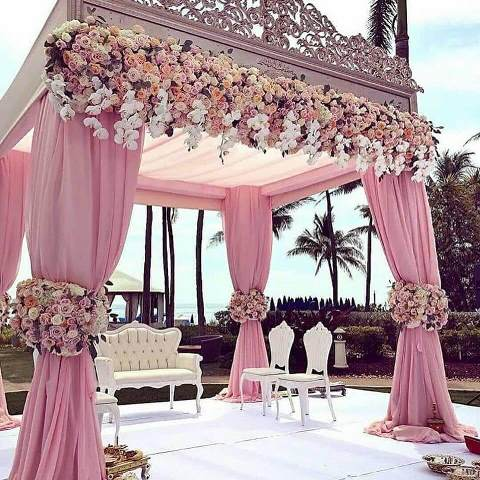 pink stage decoration for outdoor wedding