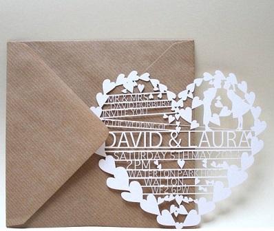Heart Shape Wedding Invitation Card