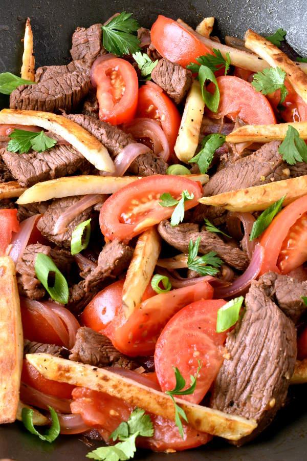 Lomo Saltado (Beef and French Fry Stir Fry)| WednesdayNightCafe.com