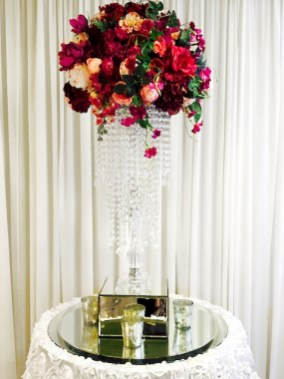 Crystal Stand with Red & Burgundy Flowers - Copy