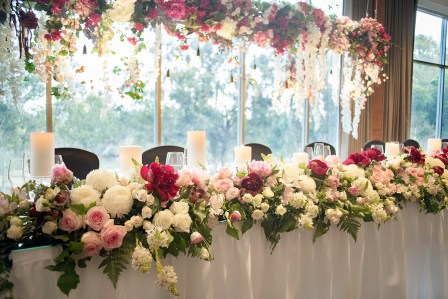 Fresh Cascading Flowers on Bridal Table (2)