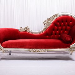 Red Chaise Lounge Chair Colored Desk Chairs Velvet French Wedstyle Weddings Events