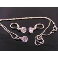 Cubic Zirconia Solitaire Necklace and Earrings Set ...