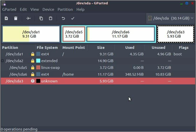 gparted list linux partitions
