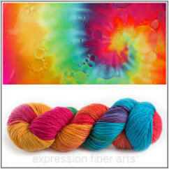 Skein of Tie Dye Resilient Wool Sock Yarn from Expression Fiber Arts