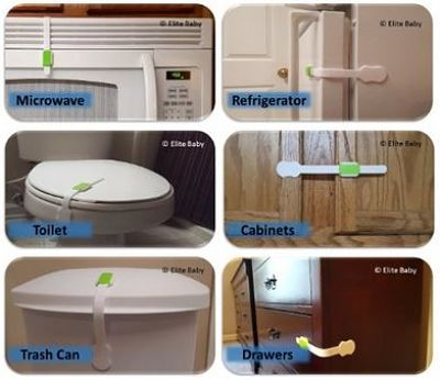 PROTECT YOUR CHILD: These discreet baby safety cabinet locks secure furniture, appliances, and doors to protect your child from harm while keeping your things organized and safe from curious little fingers: KITCHEN (Cabinets, Drawers, Refrigerator, Freezer, Dishwasher, Microwave, Trash Can), LAUNDRY ROOM (Washer, Dryer, Laundry Hampers), Bathroom (Cabinets, Shower Doors, Toilet Seat), GARAGE (Toolboxes, Chemicals, Paint, Storage Boxes), BEDROOM (Drawers, Closets, Desks).