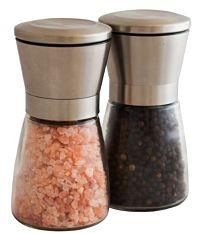 Elegant Stainless Steel Salt and Pepper Grinder Set
