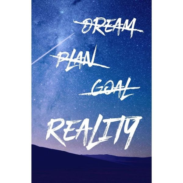Dream Plan Goal Reality Lined Notebook Cover Starry Sky
