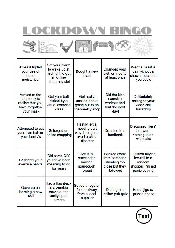 Lockdown Bingo Sample Page - Illustrated Printable