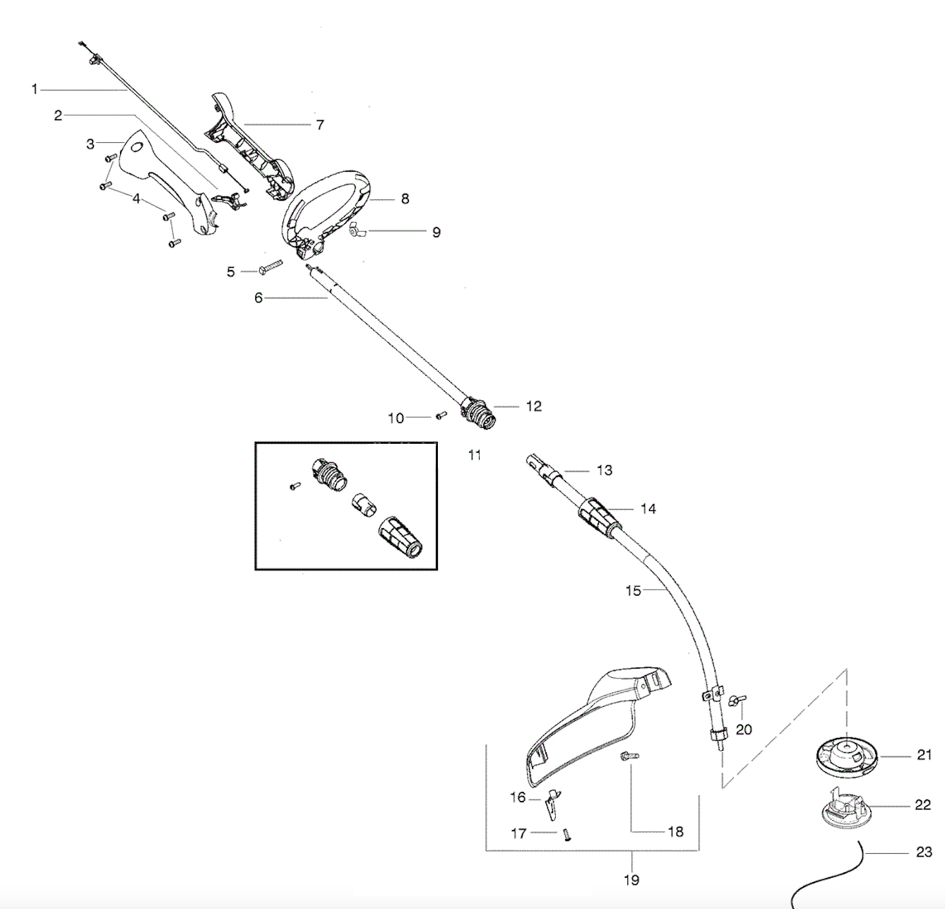 weed eater fuel line replacement diagram 98 ford mustang radio wiring w25cfk handle parts weedeater featherlite