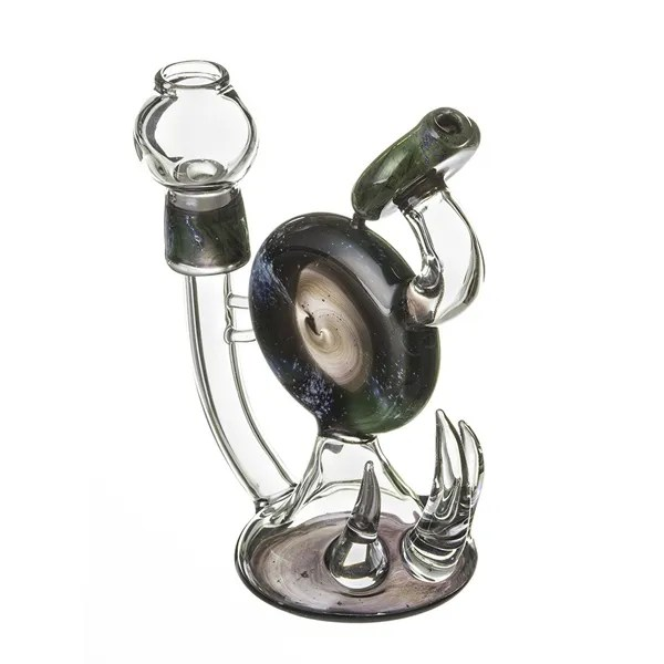 High End double disc handmade glass bong water pipe
