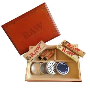 RAW Wood Rolling Box bundle with papers, tips, scoop and grinder!