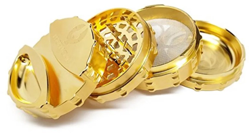 Gold grinder for weed and herb makes a great gift for the swanky stoner