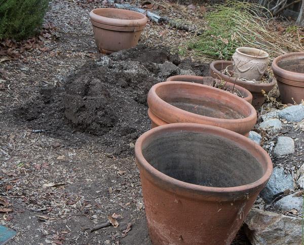 Emptied pots