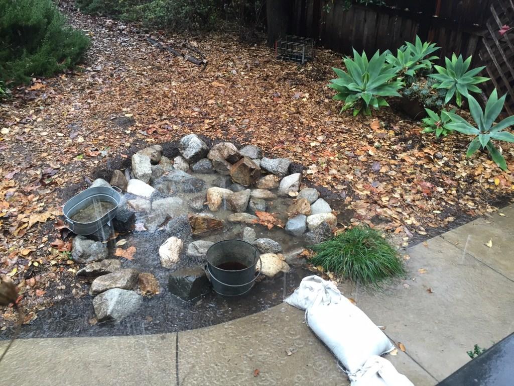 rain garden, rainwater harvesting and infiltration