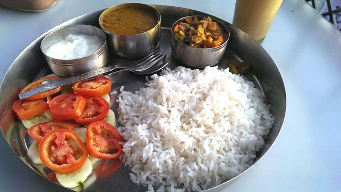 One of many 100 rupee veg thalis in India