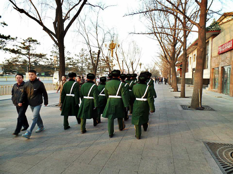 Guards dressed for the cold at Tiannamen Square