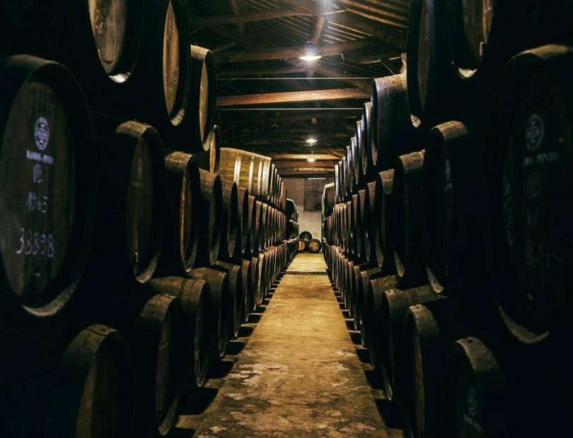 Tonneaux de vins de Porto dans les caves Ramos Pinto
