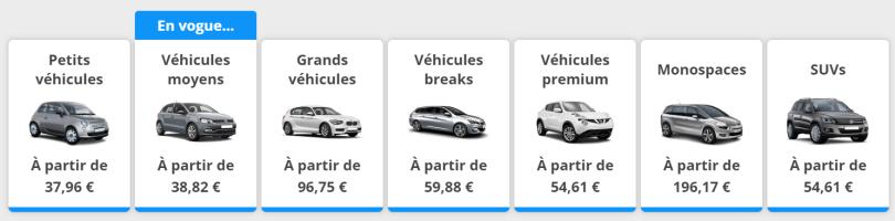 Differents types de vehicules disponibles via Rentalcars
