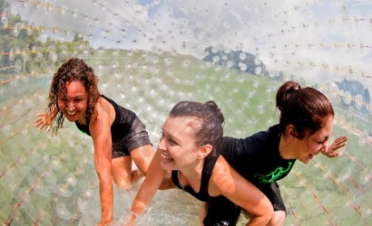 3 girls inside a zorb at zorbing rotorua