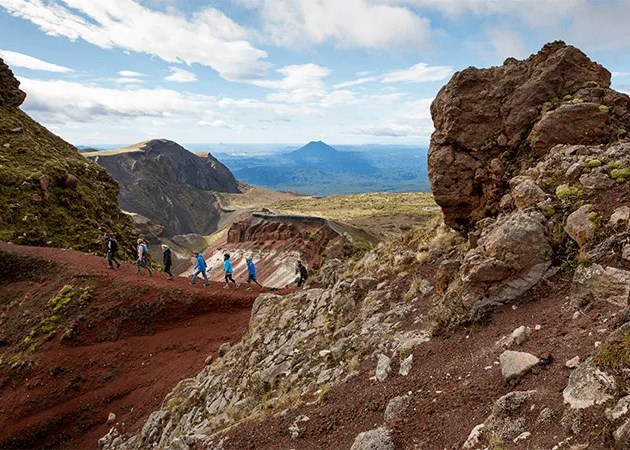 Group of people on the mt tarawera crater walk