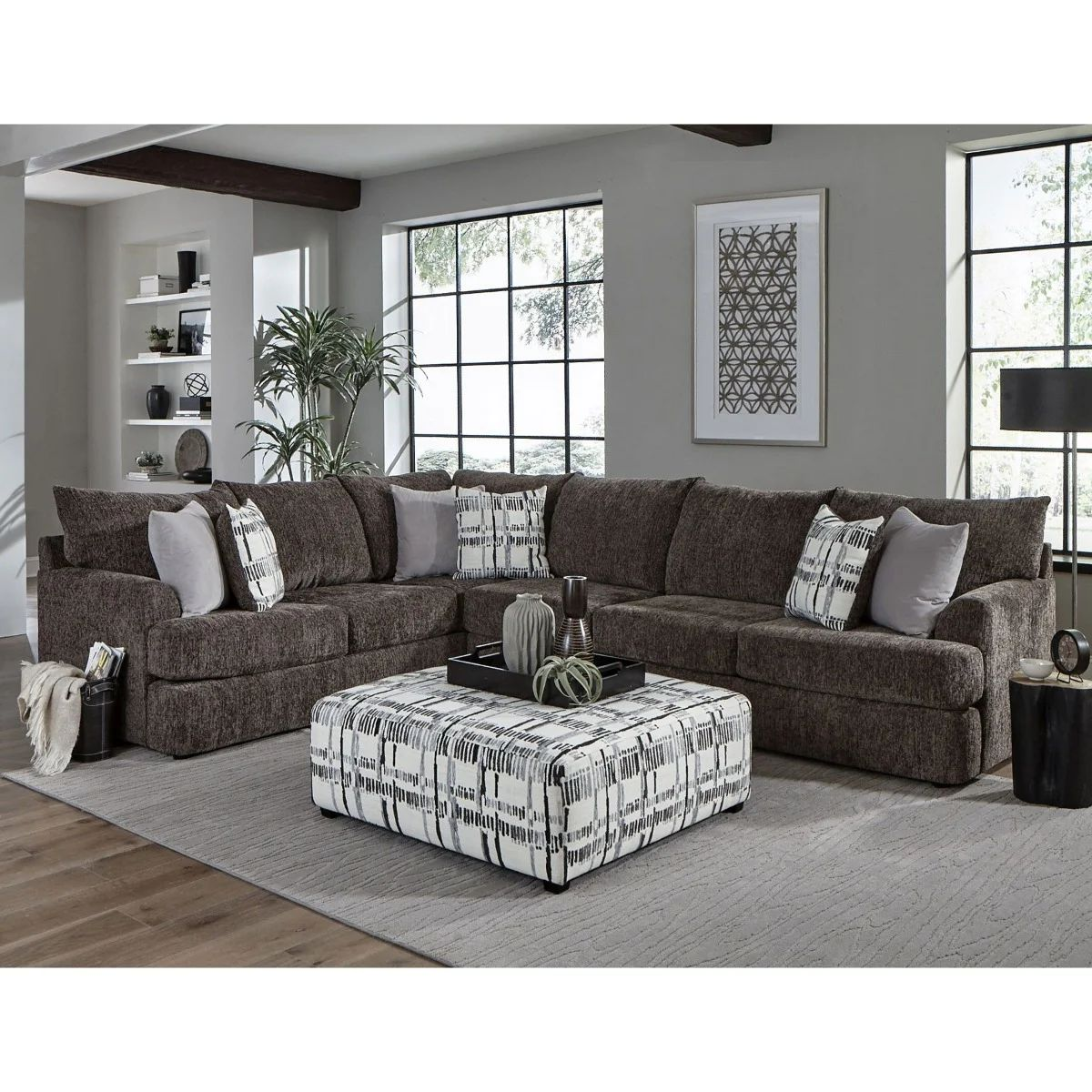 archie 2 piece charcoal chenille sectional